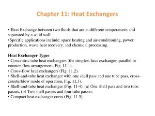 Chapter 11: Heat Exchangers