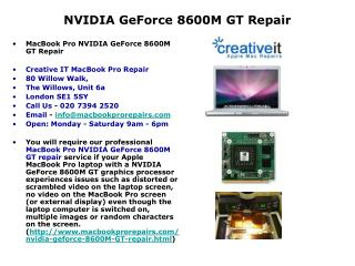 MacBook Pro NVIDIA GeForce 8600M GT Repair | NVIDIA Repair