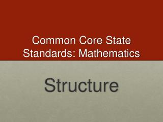 Common Core State Standards: Mathematics