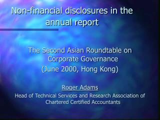 Non-financial disclosures in the annual report