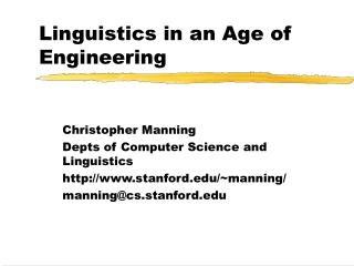 Linguistics in an Age of Engineering
