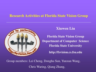 Research Activities at Florida State Vision Group