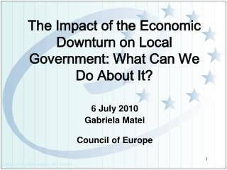 The Impact of the Economic  Downturn on Local Government: What Can We Do About It?