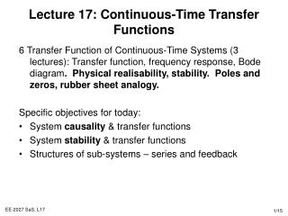 Lecture 17: Continuous-Time Transfer Functions