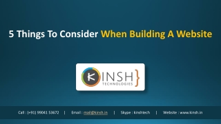 5 Things To Consider When Building A Website