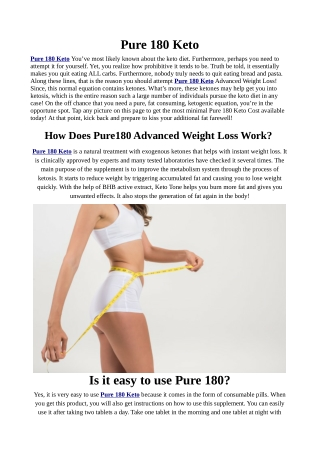 Pure 180 Keto Diet Pill Claims: