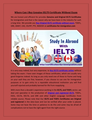Where Can i Buy Genuine IELTS Certificate Without Exam