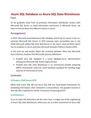 SQL Azure Online Training  | Azure SQL Training