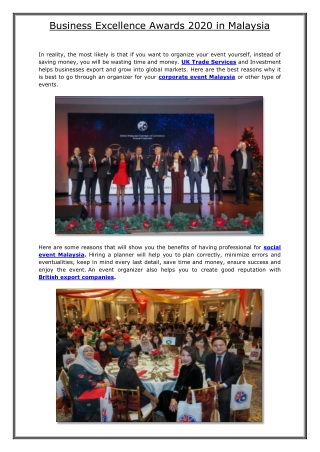 Business Excellence Awards 2020 in Malaysia