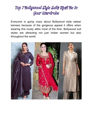 Top Bollywood Style Salwar Suits
