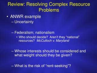 Review: Resolving Complex Resource Problems