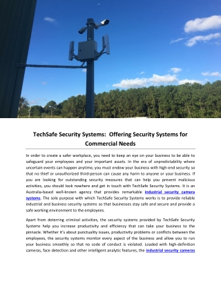 TechSafe Security Systems:  Offering Security Systems for Commercial Needs