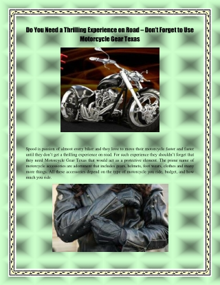 Do You Need a Thrilling Experience on Road – Don't Forget to Use Motorcycle Gear Texas