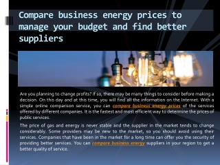 Compare business energy prices to manage your budget and find better suppliers