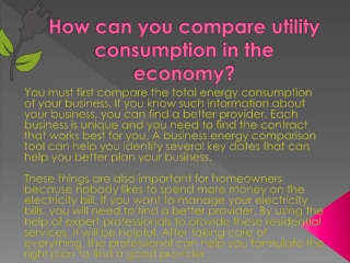 How can you compare utility consumption in the economy?