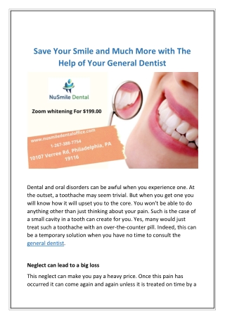 Save Your Smile And Much More With The Help Of Your General Dentist