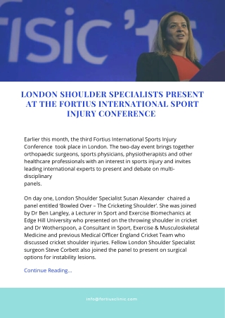 London Shoulder Specialists present at the Fortius International Sport Injury Conference