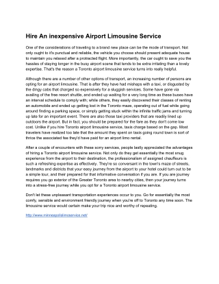 Hire An inexpensive Airport Limousine Service