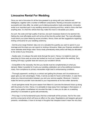 Limousine Rental For Wedding