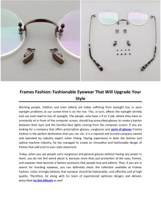 Frames Fashion: Fashionable Eyewear That Will Upgrade Your Style