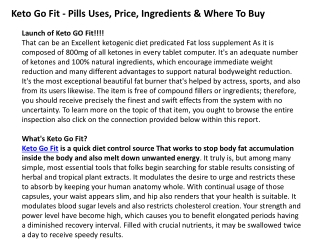 Keto Go Fit - Pills Uses, Price, Ingredients & Where To Buy