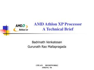 AMD Athlon XP Processor A Technical Brief