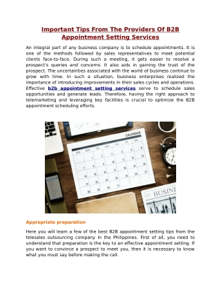 Important Tips From The Providers Of B2B Appointment Setting Services