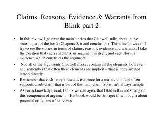 Claims, Reasons, Evidence & Warrants from  Blink part 2