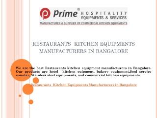 Restaurants Kitchen Equipments Manufacturers in Bangalore