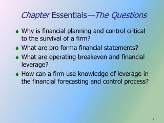 Chapter Essentials The Questions