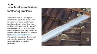 10 Must know Reasons for Roofing Problems