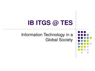 IB ITGS @ TES