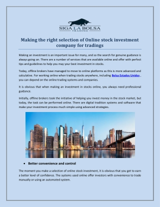 Making the right selection of Online stock investment company for tradings