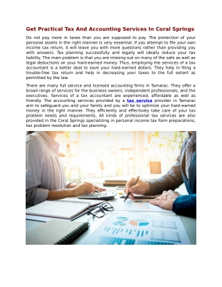 Get Practical Tax And Accounting Services In Coral Springs