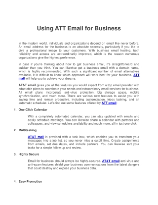 Using ATT Email for Business
