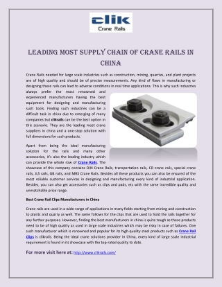 Leading Most Supply Chain of Crane Rails in China