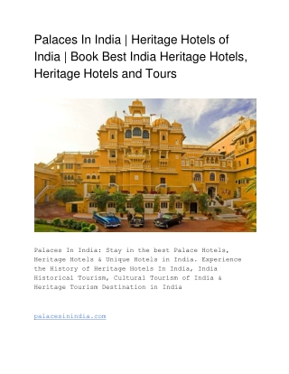 Palaces Hotels in India | Heritage Hotels in India | India Heritage Destination | Royal Heritage Palaces India  | Forts,