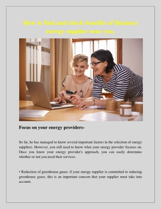 How to find and check benefits of Business energy supplier near you.