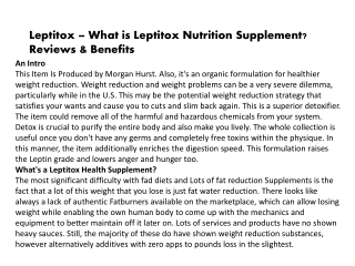 Leptitox – What is Leptitox Nutrition Supplement? Reviews & Benefits