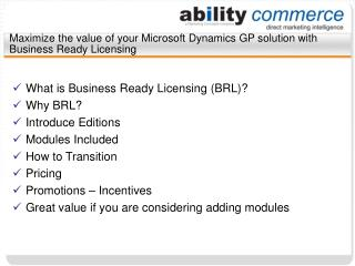 Maximize the value of your Microsoft Dynamics GP solution with Business Ready Licensing