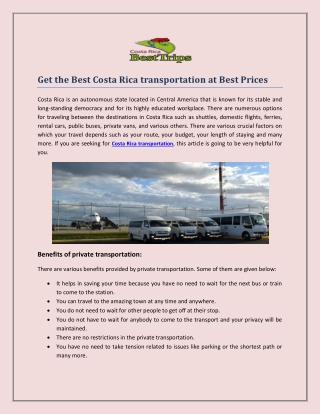 Get the Best Costa Rica transportation at Best Prices