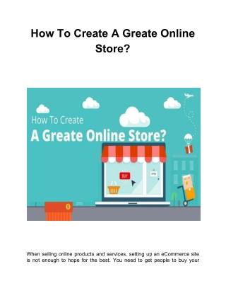 How To Create A Great Online Store?