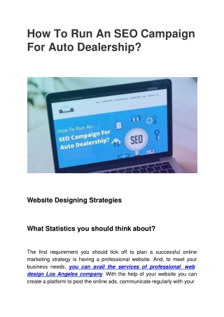 How To Run An SEO Campaign For Auto Dealership?