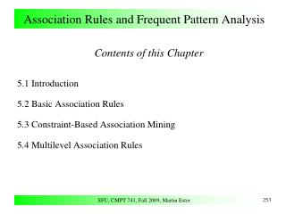 Association Rules and Frequent Pattern Analysis