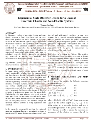 Exponential State Observer Design for a Class of Uncertain Chaotic and Non Chaotic Systems