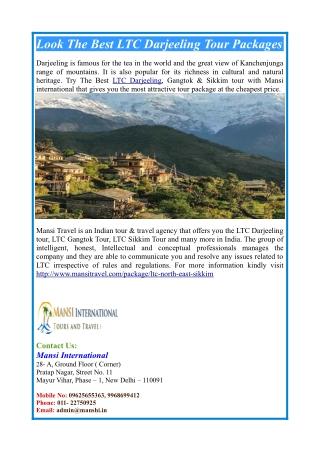 Look The Best LTC Darjeeling Tour Packages