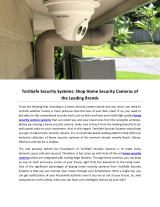 TechSafe Security Systems: Shop Home Security Cameras of the Leading Brands