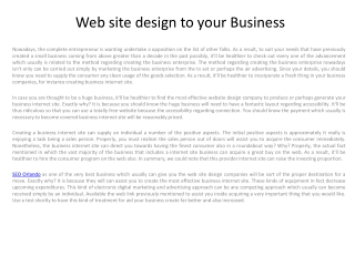 Web site design to your Business