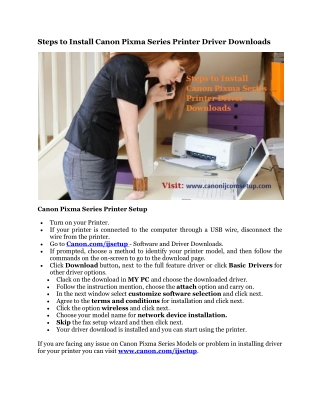 Steps to Install Canon Pixma Series Printer Driver Downloads