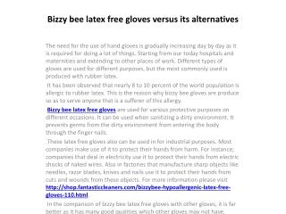 Bizzy bee latex free gloves versus its alternatives